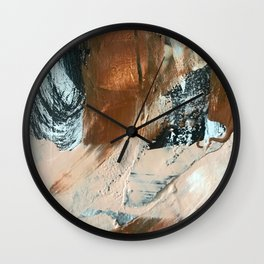 Chocolate Kisses [1]: A bold, minimal, abstract piece in pink, brown, black and white Wall Clock