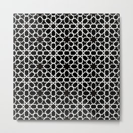 white oriental pattern on black background - seamless pattern traditional morocco style Metal Print
