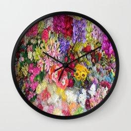 Vibrant Floral Garden Wall Clock