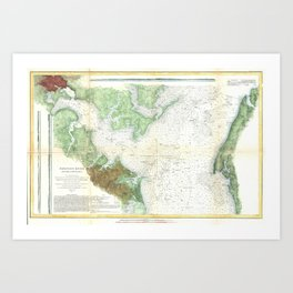 Patapsco River and Chesapeake Bay Map (1857) Art Print