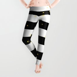 Black and White Stripes with Golden Dots Leggings
