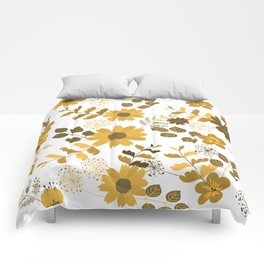 Big Yellow and Brown Flowers Comforters