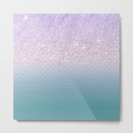 Modern faux lilac glitter teal purple ombre polka dots Metal Print