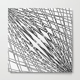 Many rays of light with symmetrical bright waves on white. Metal Print