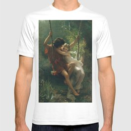 Springtime by Pierre-Auguste Cot 1873 Painting Couple in the Forest Victorian Aesthetic Illustration T-shirt
