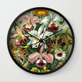 Vintage 1865 Botanical Orchids Wall Clock
