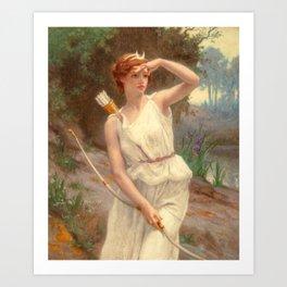 Guillamume Seignac Diana The Huntress 1870 Roman Mythology Goddess Of The Hunt Moon And Nature Art Print