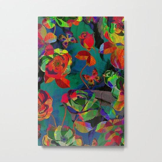 Floral Pattern Textile Metal Print