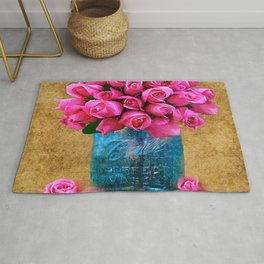 BALL MASON JAR AND ROSES Rug