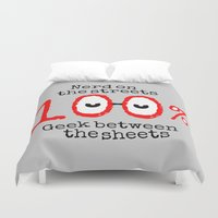 nerd Duvet Covers featuring Nerd Geek  by mailboxdisco