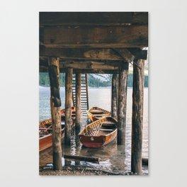 Boats at Lago di Braies Canvas Print