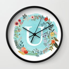 Personalized Monogram Initial Letter U Blue Watercolor Flower Wreath Artwork Wall Clock