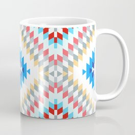 Colorful patchwork mosaic oriental kilim rug with traditional folk geometric ornament Coffee Mug