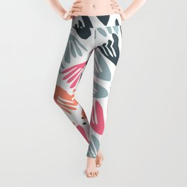 Papier Découpé Modern Abstract Cutout Pattern in Bright Pink, Apricot, Steel Blue, and White Leggings