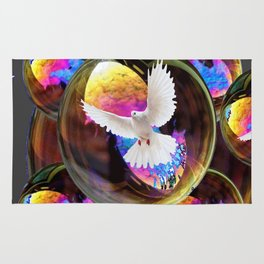 SURREAL WHITE DOVES & IRIDESCENT  SOAP BUBBLES Rug