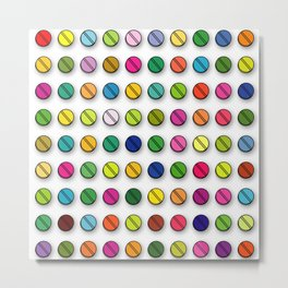 Multi-coloured Pills Pattern square Metal Print