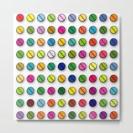 Multi-coloured Pills Pattern square Metal Print