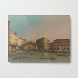 The Grand Canal with the Rialto Bridge and the Fondaco dei Tedeschi, Canaletto (workshop of), 1707 - Metal Print