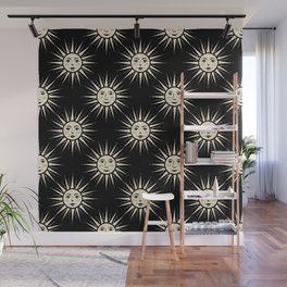 Freckled Suns - black and cream Wall Mural