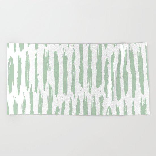 Vertical Dash Stripes Pastel Cactus Green on White Beach Towel