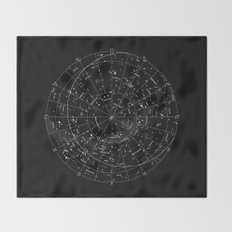 Constellation Map - Black & White Throw Blanket