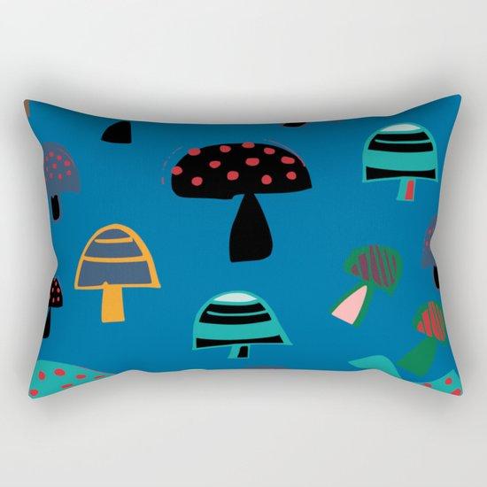Cute Mushroom Blue Rectangular Pillow