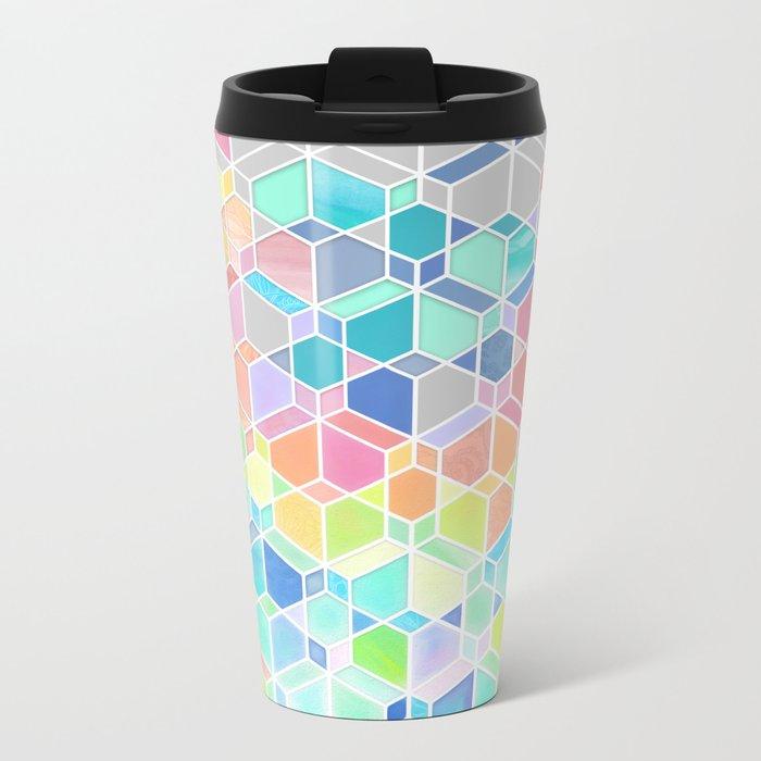 Rainbow Cubes & Diamonds Metal Travel Mug