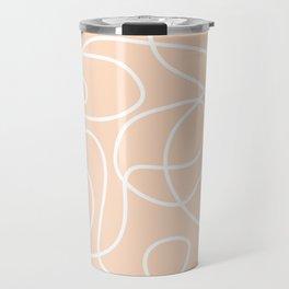 Doodle Line Art | White Lines on Peach/Apricot Travel Mug