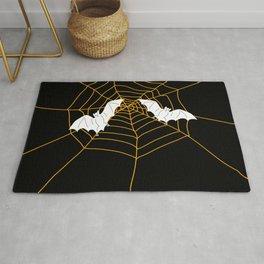 Halloween Orange Spider web with Bats Rug