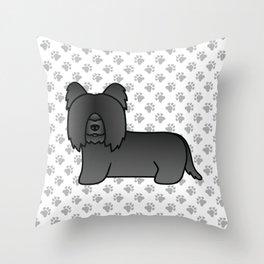 Black Skye Terrier Dog Cute Cartoon Illustration Throw Pillow