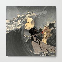 Benkei Calming the Waves at Daimotsu Bay :Tsukioka Yoshitoshi - One Hundred Aspects of the Moon Metal Print