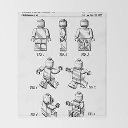 Legos Patent - Block Man Art - Black And White Throw Blanket