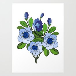 Branch of abstract blue flowers Art Print