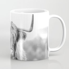 Highland Cow Longhorn in a Field Black and White Coffee Mug