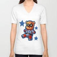 bucky V-neck T-shirts featuring bucky!bear by zombietonbo