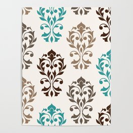 Heart Damask Art I Browns Teal Cream Poster