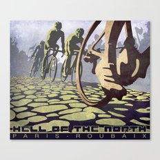 HELL OF THE NORTH retro Paris Roubaix cycling illustration poster Canvas Print