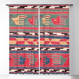 Southwestern Nomad II // 18th Century Colorful Red Blue Green Yellow Shapes and Bands Pattern Blackout Curtain