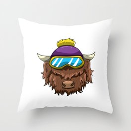 Wild Hair Don't Care Funny Highland Cow Throw Pillow