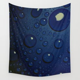 Midnight Blue to Stars in Droplets Polka Dots Wall Tapestry