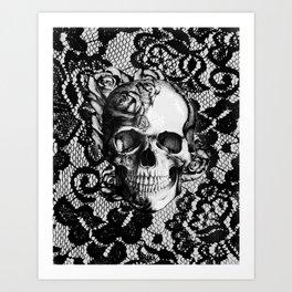 Rose skull on black lace base. Art Print