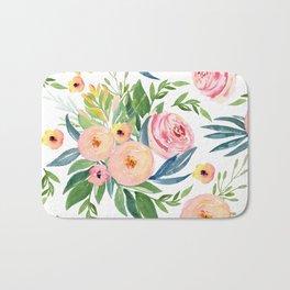 Elegant Roses Coral Pink + Green Bath Mat