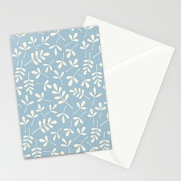 Cream on Blue Assorted Leaf Silhouette Pattern Stationery Cards