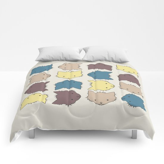 Pastel cat faces Comforters