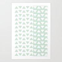 Vintage Triangle Invasion Mint green Art Print