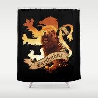 gryffindor Shower Curtains featuring Gryffindor by Markusian