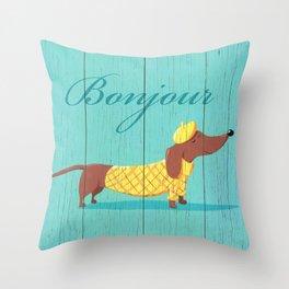 Bonjour Chiot Throw Pillow