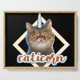 Caticorn funny cat tee shirt unicorn cat present kitty Serving Tray