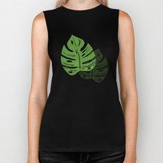 Linocut Monstera Leaf Pattern Biker Tank