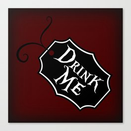 """Drink Me"" Alice in Wonderland styled Bottle Tag Design in 'Tulgey Wood Brown' Canvas Print"